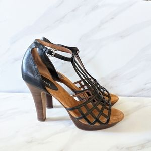 ANTHROPOLOGIE BIVIEL Black Strappy Sandal Heels